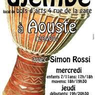 cours hebdomadaires de djembé à Aouste (3 km de Crest Drôme)
